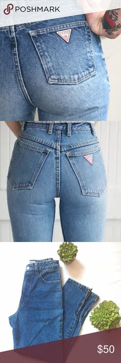 5188d045a66 Vintage Guess Jeans The most perfect tapered guess denim jeans with zippers  at the ankles