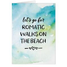 Valentines Day card romantic walks on the beach Card - valentines day gifts love couple diy personalize for her for him girlfriend boyfriend