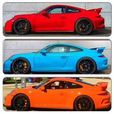 Flying L Racing's 2015 GT3s. Guards Red, Mexico Blue, Gulf Orange. 1 of 1