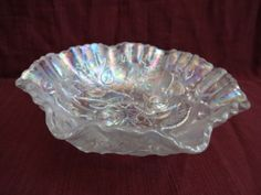 VTG-IMPERIAL-CARNIVAL-GLASS-IRIDESCENT-WHITE-LUSTRE-OPEN-ROSE-RUFFLED-EDGE-BOWL