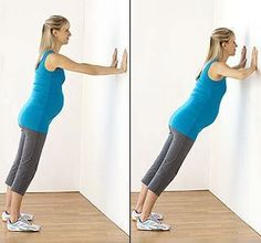Begin your pregnancy exercises! •	Wall Push-Ups •	Squats with Fitness Ball •	Leg Lifts •	Step Ups •	Side Planks •	Supported V-Sits •	V-Sits with Balance Trainer •	One Leg V-sits •	Seated Rowing with Resistance Tubing •	Seated Dead Lifts with Resistance Tubing