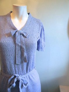 vintage. 50s 60s Periwinkle Knit Dress / Small by styleforlife, $72.25