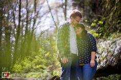 Engaged couple in the woods of Portland, Oregon at sunrise from Destination wedding photographers Matthew Druin + Co. NO TRVAEL FEES IN THE US!
