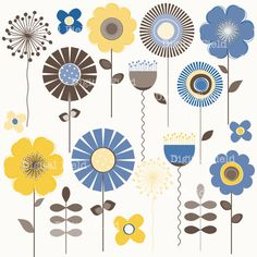 Blue, Yellow and Brown Mod Flower Clip Art Set - printable digital clipart - instant download on Etsy, $4.00