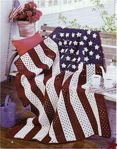 American Pride Afghans - Crochet Patterns. / Orgulho Americano Afegãos. /  Colcha- Crochê Padrões.