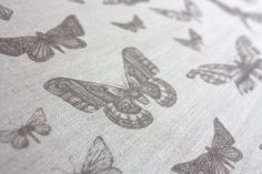 Entomologie Moths in Dust - printed linen from Tradescant and Son  tradescantandson.com