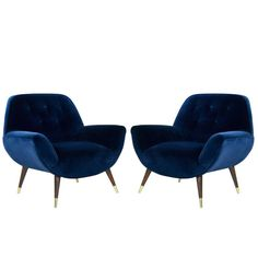 Navy Blue Velvet Lounge Chairs with Splayed Legs, Italy, circa 1950s   From a unique collection of antique and modern armchairs at https://www.1stdibs.com/furniture/seating/armchairs/
