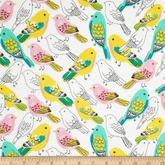 Timeless Treasures Birds White from @fabricdotcom  Designed for Timeless Treasures, this cotton print fabric is perfect for quilting, apparel and home decor accents. Colors include white, green, pink, black and yellow.
