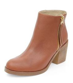 Wide Fit Tan Leather Zip Side Shoe Boots