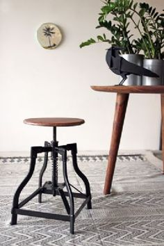 Wooden Top Spring Stool - Distressed Wood Seat