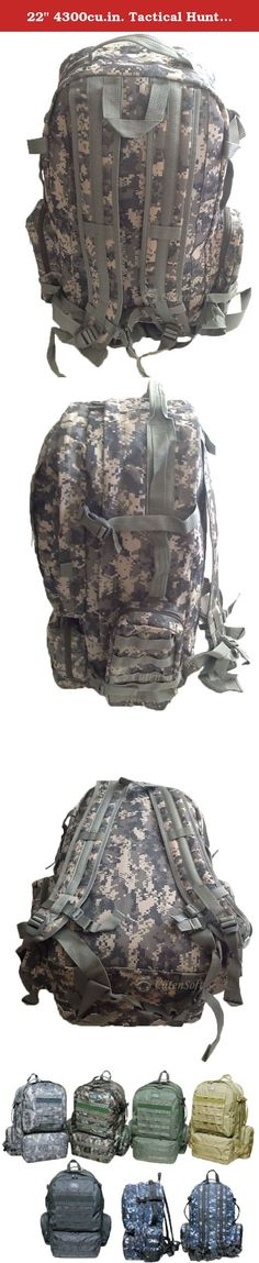 """22"""" 4300cu.in. Tactical Hunting Camping Hiking Backpack OP822 DM DIGITAL CAMOUFLAGE. PRODUCT DETAILS Capacity: 4300 cu. in. Dimensions & weight: 22""""(Height) x 17""""(Width) x 11""""(Depth) 2 lbs 12 oz empty (Approximated weight) Compartments & Pockets: 1 Large main compartment 2 front pockets with heavy-duty webbing lines 2 built compartments in front top pocket 2 side pockets with 4 MOLLE style straps on each pocket Materials: Polyester with PVC water resistant lining #10 Heavy-duty zipper..."""