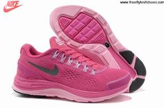 Buy 2013 New Womens Nike LunarGlide 4 Fireberry Pink Silver Running Shoes Fashion Shoes Store