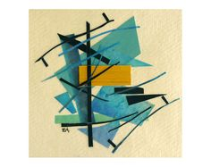 Modern art collage, abstract original art card, mixed media art on recycled paper