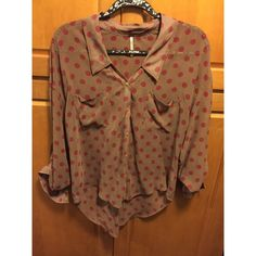 Free people blouse Tan and burgundy polka dotted free people button down blouse. Small water stains to front can be removed at dry cleaners Free People Tops