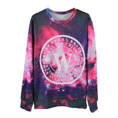 Galaxy Print Unisex 1D Sweatshirt (32 AUD) ❤ liked on Polyvore featuring tops, hoodies, sweatshirts, multi, galaxy print sweatshirt, sweat tops, galaxy top, round top and galaxy print top