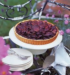 Plum Tarts - I halved the recipe and also sliced the plums so I could make a rosette pattern. It was beautiful and delicious! 5-6 plums suffice for one tart.