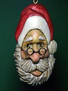 Carved Wood Christmas Santa