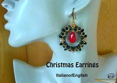Christmas Earrings   PDF Beading tutorial in Italian or in