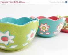 Christmas in July SALE Springtime Flower Bowls by Butterflykilns, $22.10