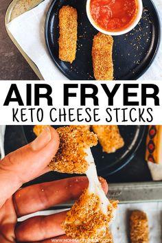 Cheese Sticks Recipe, Mozzarella Cheese Sticks, Air Fryer Recipes Mozzarella Sticks, Healthy Mozzarella Sticks, Keto Foods, Keto Recipes, Keto Snacks, Easy Low Carb Recipes, Healthy Recipes