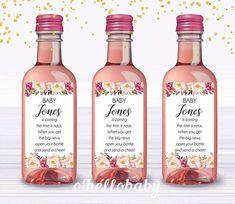 Printable Bohemian Baby Shower Mini Wine Bottle Labels Pink Wine Bottle Favors, Mini Wine Bottles, Water Bottles, Bohemian Baby, Unique Baby Shower Themes, Sutter Home, Baby Shower Labels, Boho Baby Shower, Printable