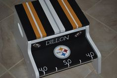 Kids Personalized 2 Step Stool And Storage Bench - Football Teams