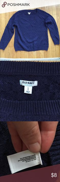 Old Navy Honeycomb Sweater Navy blue Old Navy honeycomb sweater. Some pilling under the arms, but lots of life left. Loose fit. Old Navy Sweaters Crew & Scoop Necks