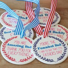 These Medals are a perfect gift for Fathers Day, from toddlers to teens and adult children . A keepsake Dad can cherish all year round.There are two choices of colour for printing, these are Blue border with Red writing or Red border with Blue writing. There are two different Ribbon colours available, Bright Red or Blue. Once you've ordered, your Medal will be handprinted in Surrey, using a special heat method on the ceramic heart, to ensure it is sealed and will last year after year. You…