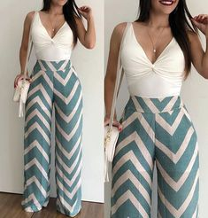 Image may contain: 2 people, people standing and stripes Hot Outfits, Classy Outfits, Spring Outfits, Casual Outfits, Casual Chic, Casual Wear, Fashion Pants, Fashion Dresses, African Fashion