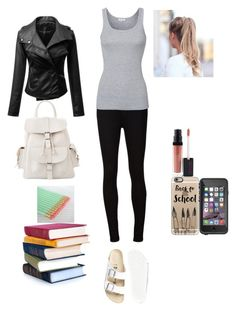 """""""Back to schoolnContest (Outfit 1)"""" by maxinepotter ❤ liked on Polyvore featuring AG Adriano Goldschmied, Casetify, Birkenstock, Splendid, MANGO, Jemma Kidd and gretasbtscontestoutfit1"""