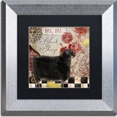 Trademark Fine Art Baa Baa Black Sheep Canvas Art by Color Bakery, Black Matte, Silver Frame, Assorted