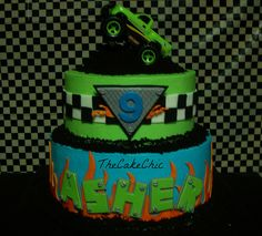 Monster Truck Cake.  Find me on facebook... https://www.facebook.com/pages/TheCakeChic/133970216627815?ref=hl