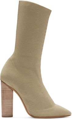 399c933e2f27 Calf-high stretch knit boots in  gold  beige. Pointed toe. Stacked