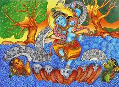 Lord Krishna's Kaliya Daman (Reprint on Paper - Unframed))