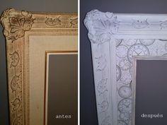 actualizando un viejo marco:  con un original papel decoupage sobre la tela de lino y pintando el marco dorado con pintura acrílica y un acabado decapado.