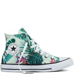 Chuck Taylor All Star Tropical Print Fibra de vidrio Menta Blanco Painted  Sneakers 9640e446f