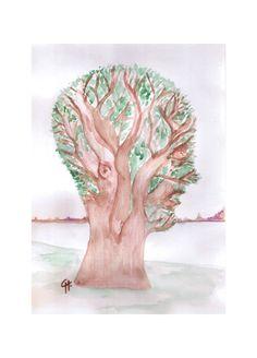 """""""L'arbre tête""""  aquarelle"""