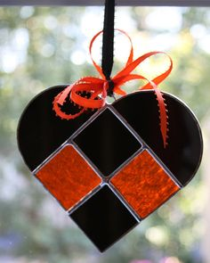 Black & Orange Stained Glass Heart Suncatcher Perfect for a Happy Halloween!