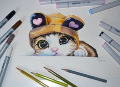 Drawing sketches, kitten drawing, cute cat drawing, cute pictures to draw. Marker Kunst, Copic Marker Art, Copic Art, Copic Markers, Copic Drawings, Drawing Sketches, Drawing Art, Drawing Ideas, Copic Kunst