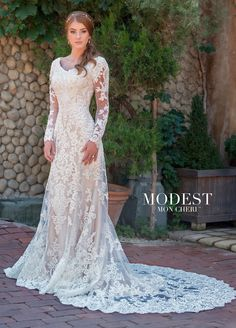 Conservative Long Sleeve Tulle   Beaded Lace Fit   Flare Wedding Dress 17e8ccc73446