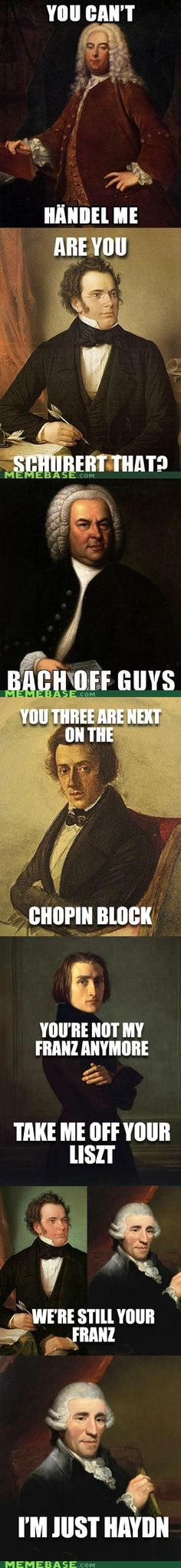My Franz are nothing but treble - yay music geek humor