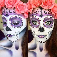 hannahtyler77 Sugar Skull Makeup, Day Of The Dead, Dead Makeup, Makeup Videos, Halloween Face Makeup, Cake Decorating, Halloween Costumes, Costume Ideas, Costumes