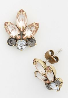 Shine That's Mine Earrings - Multi, Solid, Rhinestones, Statement, Silver, Exclusives, Vintage Inspired, 20s