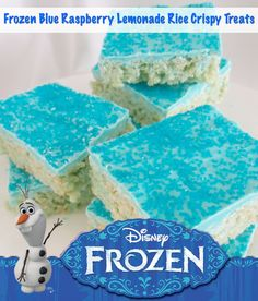 Frozen Inspired Blue Raspberry Lemonade Rice Crispy Treats Recipe | Just Enza
