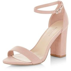 New Look Pink Suedette Ankle Strap Block Heels ($26) ❤ liked on Polyvore featuring shoes, heels, sandals, oatmeal, ankle wrap pumps, pink high heel pumps, pink shoes, pink ankle strap pumps and pink heeled shoes