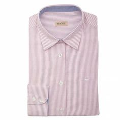 A classic pink and white stripe #shirt with a contrasting blue on the inside collar and cuff. The style is tailored at the waist, but a classic fitting shirt. Features include a single cuff and tapered back.
