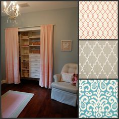 Organize your closet and add some pizazz with drapes  http://blog.3dayblinds.com/easy-tips-to-organizing-your-bedroom/