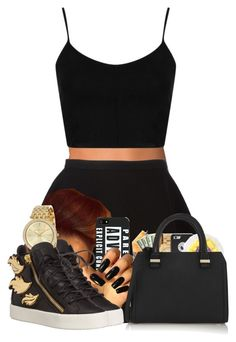 """""""Black squad """" by officialniyah on Polyvore featuring NLY Accessories, Topshop, Neil Barrett, Giuseppe Zanotti, Michael Kors, Victoria Beckham, women's clothing, women's fashion, women and female"""