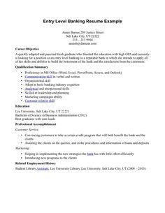 entry level banking resume httptopresumeinfoentry level - Sample Of Entry Level Resume
