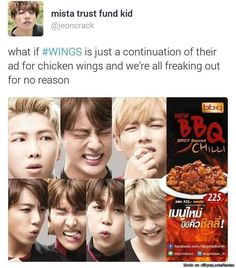LOLL YES. And it's all LIES. And the whole point was to give us STIGMA for their FIRST LOVE--chicken. So the entire series is a REFLECTION on how a MAMA chicken gives life to another chicken whose taste is the only thing that can keep BTS AWAKE.